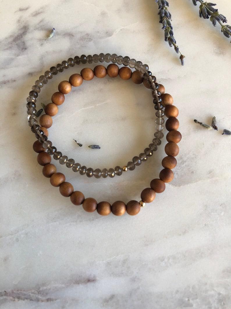 14k Gold bracelets Sandalwood /& Smoky Quartz