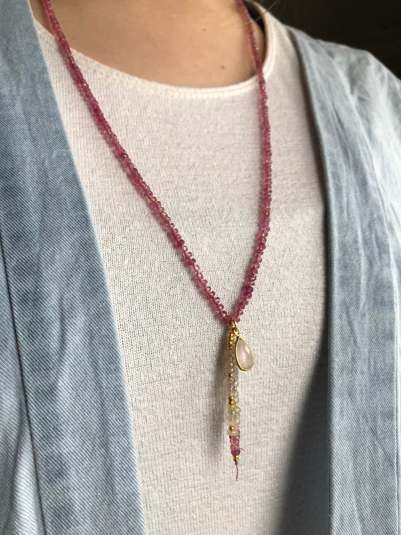 Umba Sapphire necklace featuring a Rose Quartz charm and 24k Gold vermeil accents