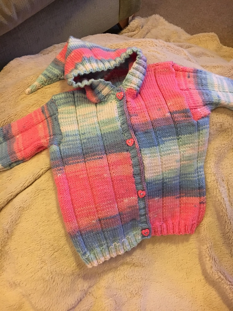 Hand knitknitted girls cardigan with hood 3-4 years