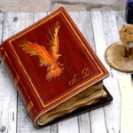 Aged Phoenix Leather Book, Personalized Gift, Custom Journal, Leather Journal, Notebook, Diary,  Aged Paper Journal, TiVergy Book