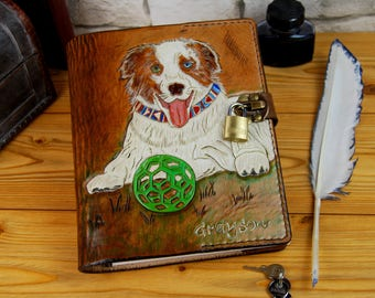 Dog Leather Notebook Personalized Journal Diary Handmade Gift Journal A5 Custom Notebook A4 Refillable Journal TiVergy Book.