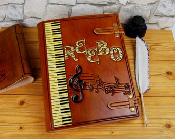 Music Leather Journal Personalized Gift Large A4 Leather Journal Notebook TiVergy Book for Custom Order