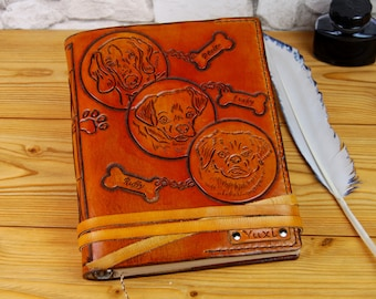 Dog Leather Journal Gift A5 Custom Dog Journal Notebook Diary Personalized Journal Leather Book TiVergy