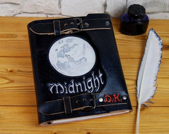 Moon Leather Journal Notebook Diary Personalized Gift Journal Reffilable Journal A5 TiVergy Journal