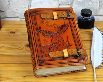 Moose Leather Journal Elk Book A4+ Personalized Leather Journal Notebook Diary Custom Journal Gift Book Animal Journal TiVergy Book
