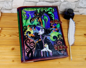 Maleficent Large Leather Journal Gift A4 Leather Journal Book Cosplay Custom Journal Personalized Journal Notebook