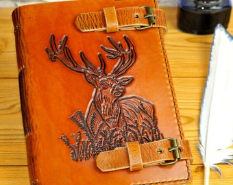 Deer Leather Journal, Deer Book, Personalized Gift, Leather Journal, Notebook, Diary, Custom Journal, Gift Book, Animal Journal TiVergy Book