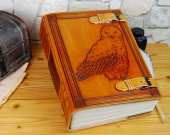 Large Leather Owl Journal Personalized Gift Journal Book Notebook Diary A4 Customized Journal TiVergy Journal Stitched