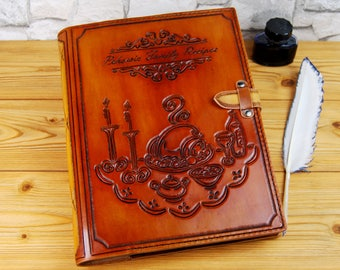 Large Family Recipes Leather Cookbook Personalized Gift Leather Journal Notebook Sketchbook Travel Book TiVergy Book