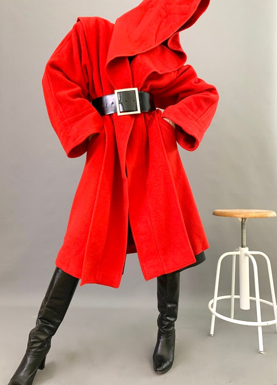 Oversize Cape Coat Wool 80s Designer Lipstick Red… - image 7