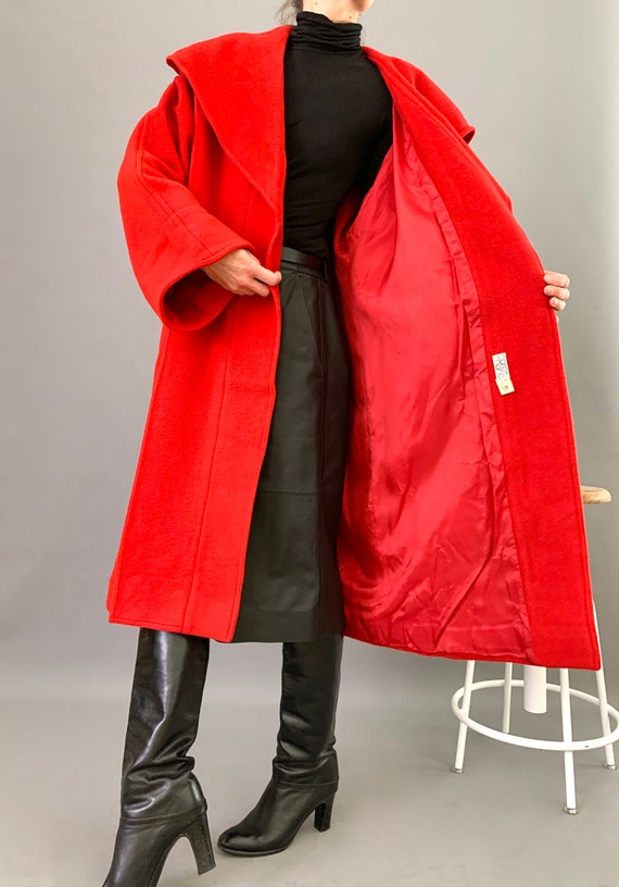 Oversize Cape Coat Wool 80s Designer Lipstick Red… - image 10