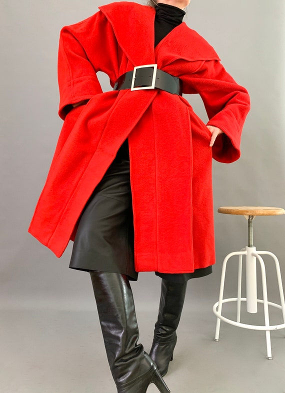 Oversize Cape Coat Wool 80s Designer Lipstick Red… - image 2