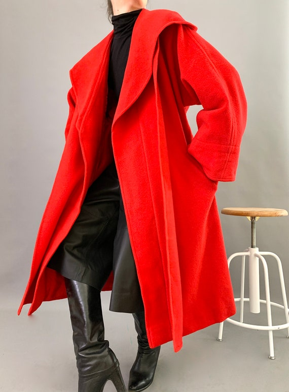 Oversize Cape Coat Wool 80s Designer Lipstick Red… - image 8