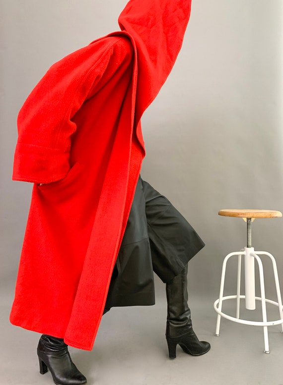 Oversize Cape Coat Wool 80s Designer Lipstick Red… - image 5