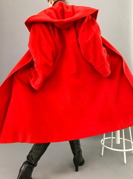 Oversize Cape Coat Wool 80s Designer Lipstick Red… - image 3