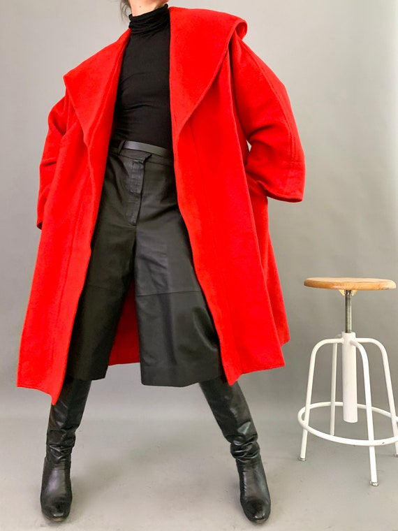 Oversize Cape Coat Wool 80s Designer Lipstick Red… - image 9