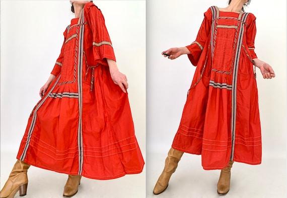 Vintage Boho Hippie Dress 70s Aztek Kuchi Nomad Dr