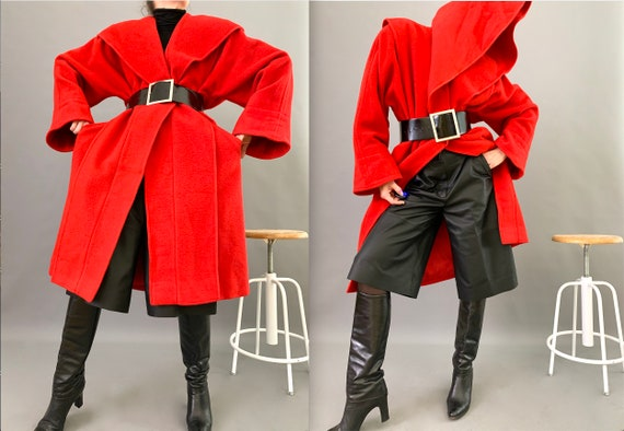 Oversize Cape Coat Wool 80s Designer Lipstick Red… - image 1