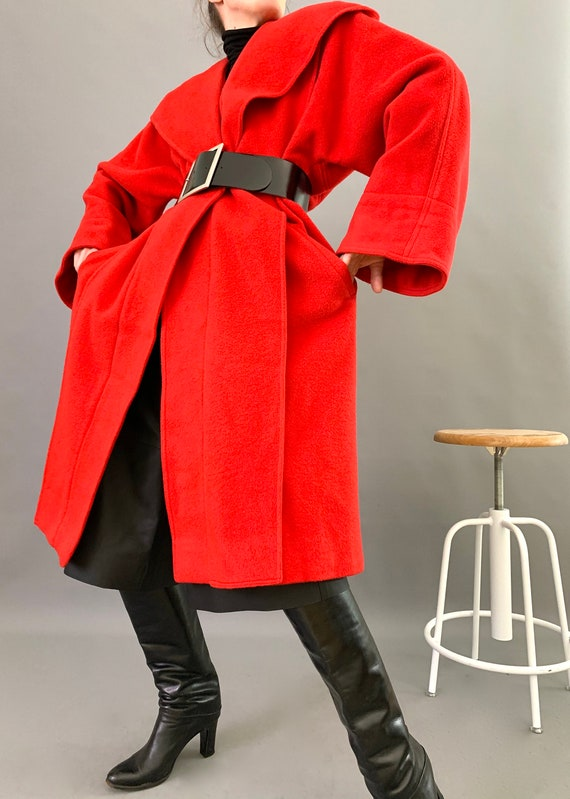 Oversize Cape Coat Wool 80s Designer Lipstick Red… - image 4