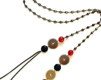 "Necklace gemstones and brass ""Rare"" Pemberley jewelry / necklace / jewelry / jewelry / brass jewelry / boho jewelry / Bohemia"