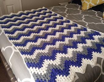 Crocheted Afghan Blanket Throw - Royal Blue Charcoal Grey White Chevron Pattern