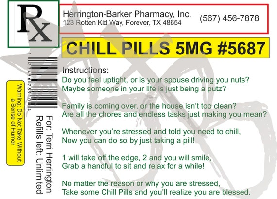 customizable chill pill label digital file gag gift label | etsy