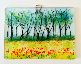 Spring Meadow on fused glass