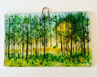 Sunshine woods Fused glass Art