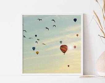 Hot air balloons photography - Christmas gift - Dreamy photography wall art poster - Montgolfières Balloon Festival - Nursery wall decor