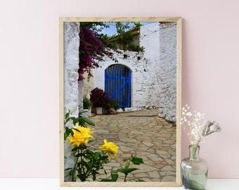 Blue door print - Door photography - Greece blue door wall art - Home office decor - Travel gallery wall - Europe travel art - Greek village