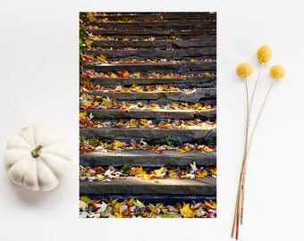 """Staircase art print - Nature autumn season photography - Montreal photography - Colorful wall art - Parc Lafontaine """"One step at a time"""""""