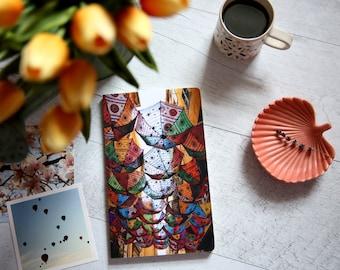 Custom notebook - Umbrella sky street photography - Stationery - Travel journal - Gratitude journal - Boho colorful umbrellas - Nice France