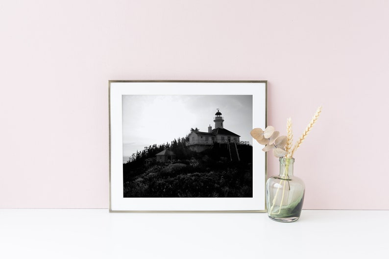 Black and white lighthouse print  Lighthouse art poster  8x12 inches