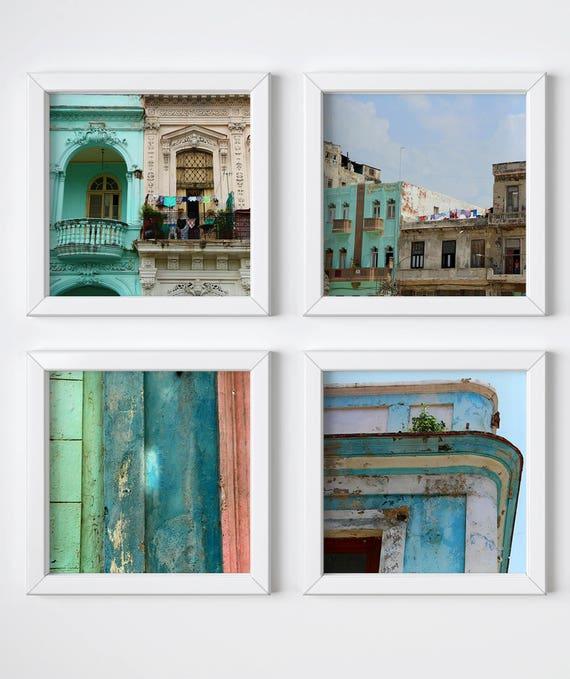 Colorful home decor Large travel wall art Cuba photography Havana photography Gallery wall decor Havana print set Square prints