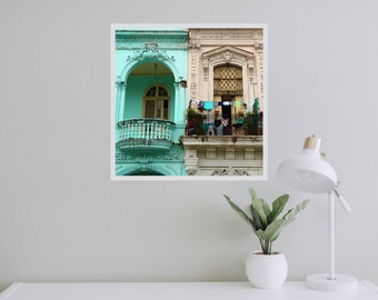 Havana photography - Cuba photography - Havana print - Laundry wall art - Turquoise house - Laundry room - Hanging linen - Home office decor