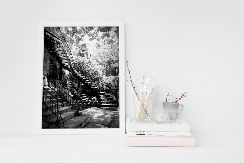 Montreal black and white photography  Montreal staircase  8x12 inches
