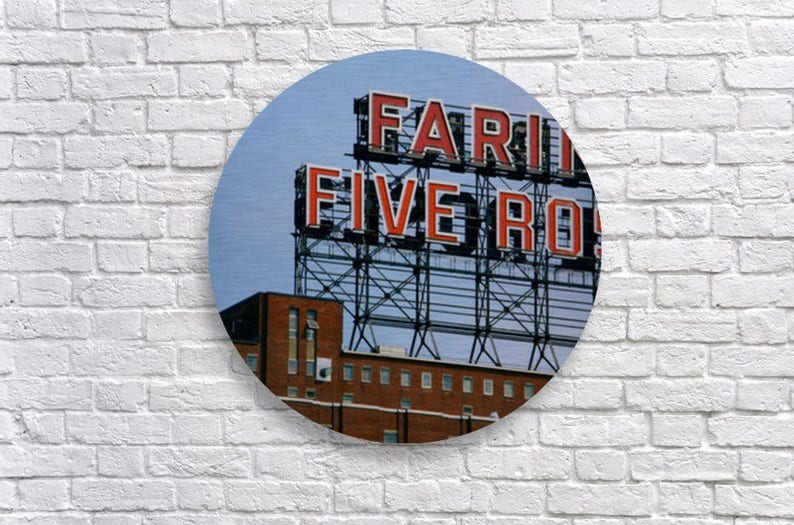 Farine Five Roses Round Metal Wall Art  Large aluminum wall image 0