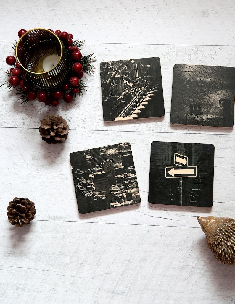 Christmas gift set  Assorted wood coasters  Host hostess image 0