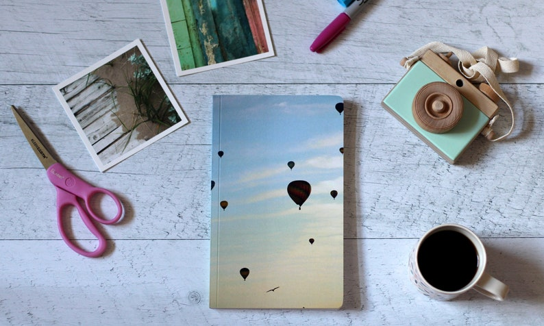 Custom notebook  Hot air balloon photography  Stationery  image 0