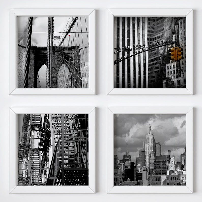 Black & white New York wall art print set  Unisex Christmas image 0