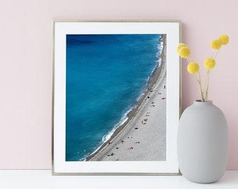 Aerial beach photography -Beach poster - Minimalist art - Côte d'azur photography - Nice French Riviera - Coastal wall art - Giclee print