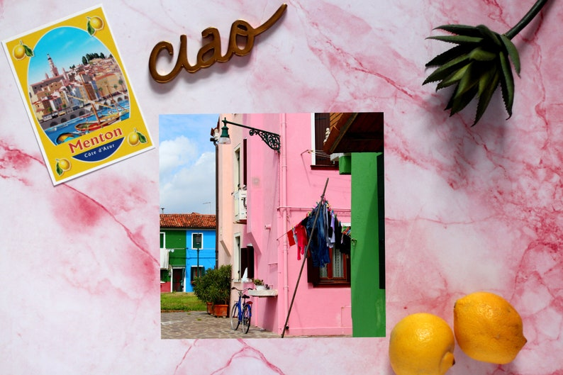Colorful houses  Burano Venice Italy art  Pink house  image 0