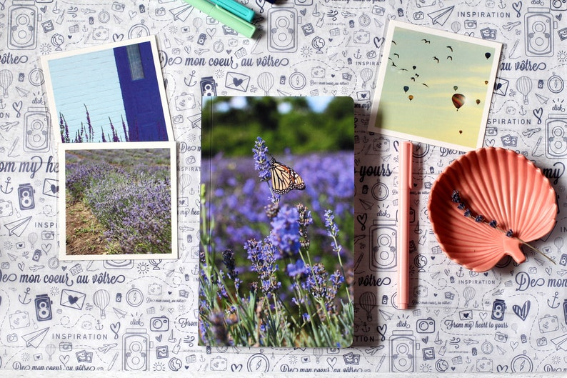 Working from home office  Lavender butterfly custom notebook image 0