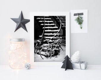 Montreal photography - Black & white winter bicycle print - Large travel wall art poster - Snow-covered staircase - House portrait art print