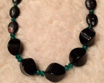 Black Onyx & Natural Jasper Necklace