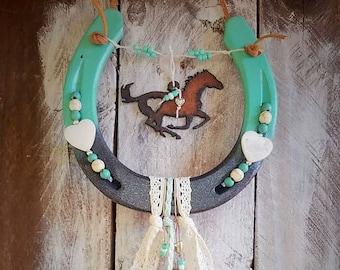 Decorated Horseshoe, Personalized Gift, Equestrian Gift, Horseshoe Decor, Cowgirl Gift, Horse Decor, Boho Decor, Horse Lover Gift