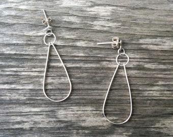 Silver Teardrop Earrings - Sterling Silver - Dangle Earrings - Modern Silver