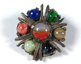 Miracle brooch  - Multi Stone -  Scotland  - Agate Glass - Multi Coloured - Vintage Costume Jewelry