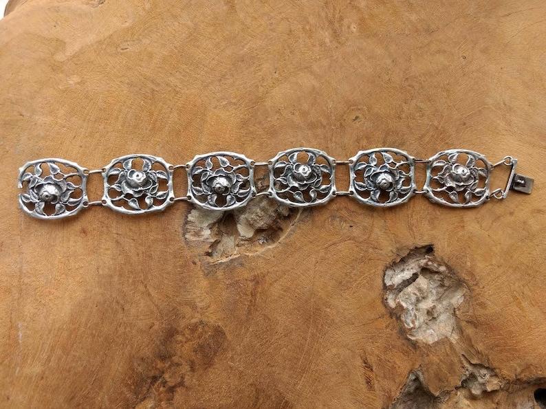 Art Nouveau Antique Silver Rose Chain Bracelet 1910