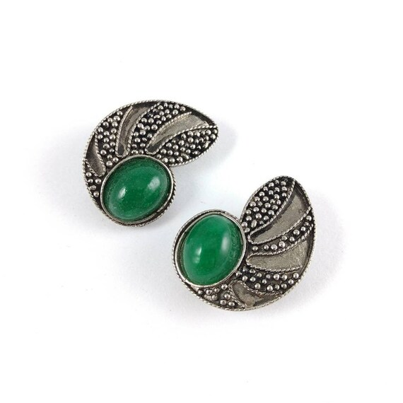 Big Clip On Earrings -  Green and Silver - Glass S